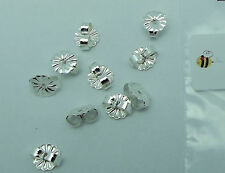 Five Pairs STERLING SILVER Earring Friction Backs DAISY 6.5mm Ear Nuts