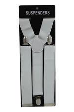White Adjustable Braces Suspenders Mens Womens Fancy Dress Clip On Slim 3.5cm
