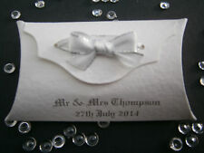 PERSONALISED WEDDING PILLOW BOX FAVOURS, UNFILLED ANY COLOUR RIBBON AND CARD