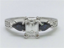 Sapphires Engagement Ring Hand Engraved Ring Forever One Moissanite & Pear Shape