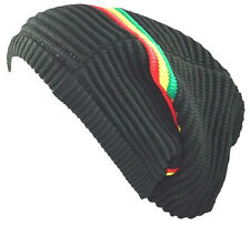 Unisex Slouchy Rasta Beanie Knit Hat Tri-Color Stripe-black green yellow red