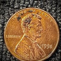 """1998 Lincoln Cent ERROR""""Wide AM """"Rev. Shipped USPS"""