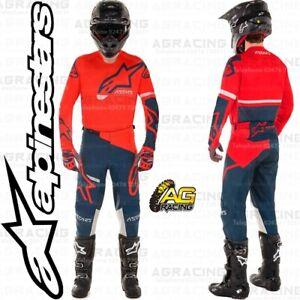Alpinestars 2020 Racer Tech Compass Bright Red Navy Jersey Pants Combo Kit MotoX