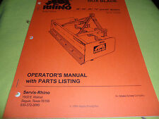 "(Drawer 13) Rhino Servis Box Blade 48"" 60"" 66"" 72"" 84"" Parts Operators Manual"