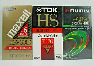 3 T-120 VHS Video Tapes Fuifilm HQ High Quality TDK HS Maxell HGX Premium Grade