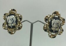 Clip Earrings Goldtone Milk Glass Vintage Alice Caviness Painted Cameo