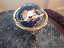 "Table Top Gemstone World Globe W/Brass Stand & Compass 14"" x 12"""