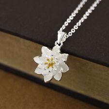 925 Silver Elegant Lotus Flower Necklace Namaste Yoga Pendant For Women Jewelry