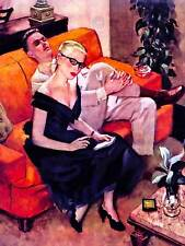 PULP FICTION ILLUSTRATION COUPLE SOFA NEW FINE ART PRINT POSTER CC4206