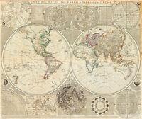 A General Map of the World or Terraqueous Globe 1787 A1+ Art Print