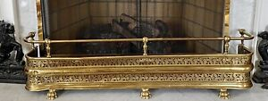 ANTIQUE RETICULATED BRASS FIREPLACE FENDER GUARD SURROUND Claw Foot