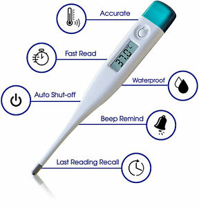 Digital LCD Thermometer Baby Adult Kids Safe Body Ear Mouth Temperature UK Stock