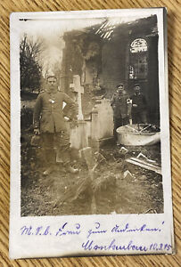 WWI German Soldiers at Bombed Building RPPC Real Photo Postcard