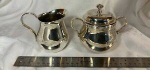 Christofle Albi Silver Plated Sugar Bowl & Creamer