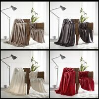 Soft Fleece Warm Sparkle Throws Single Double Blankets Sofa Bed Mink Red Cream