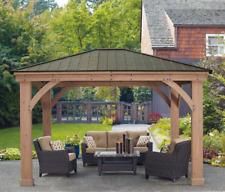 Wood Gazebos Hardtop Large Backyard Patio Cover Cedar Canopy Aluminum Roof