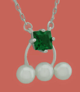 EMERALD ,WHITE SAPPHIRE & GENUINE PEARLS NECKLACE .925 Silver * NEW WITH TAG *