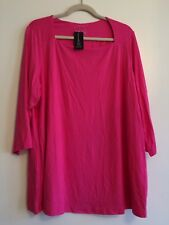 Macy's INC Square Neck Tee Top Blouse Plus 2X Bright Pink 3/4 Sleeve