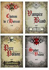 4 Wine labels Vampire spider poison Halloween party decoration