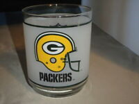 VINTAGE NFL GREEN BAY PACKERS FROSTED GLASS TUMBLER COCKTAIL LIQUOR MOBIL PROMO