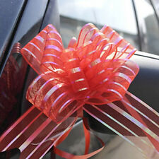 PW_ KQ_ 50mm 10 Pcs Organza Ribbon Pull Bows Wedding Party Car Decoration Diy