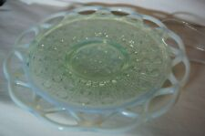 Imperial Glass Sugar Cane, Laced Edge Plate, Green Opalescent