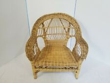 Vintage Child Size Wheat REAL Wicker Rattan Swing Chair Photography Prop 80s 90s