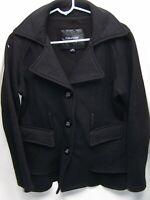 Maurices Women's Long Sleeve Button Down Coat Jacket Size M Black Pea P Coat