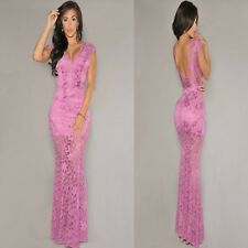Sz S 8 10 Cap Sleeve Pink Lace V-neck Sexy Formal Cocktail Party Gown Long Dress
