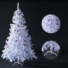 Arbol de Navidad 180cm Arbol Artificial Hoja Blanca con Adornos