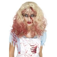 Horror Zombie Alice Wig Long Blonde Curly Blood Drip Ladies Halloween Fancy Dres