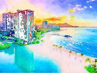 Honolulu, Waikiki, Watercolor Print, 8.5x11, Wall Art, Home Decor, Hawaii