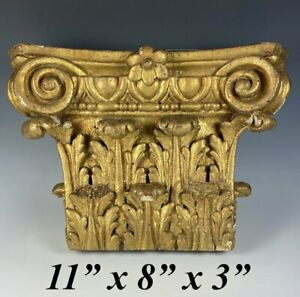 Antique Carved Wood Ornate Capital of a Corinthian Pillar Decoration, c.1700s