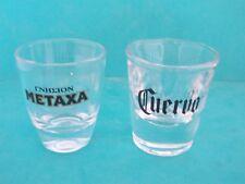 2 x  HEAVY BOTTOM SHOT GLASSES METAXA AND CUERVO