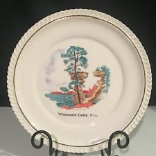 """Vintage Wisconsin Dells Souvenir Plate 10 3/8"""" 22K Gold Hand Painted Stand Rock"""
