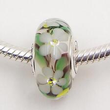 Pandora Wild flower silver glass Murano Charm Bead (genuine ale s925)