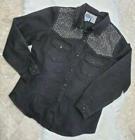 DG2 Diane Gilman Black Jean Shirt Jacket Rhinestone Bling Pearl Snap Denim Sz M