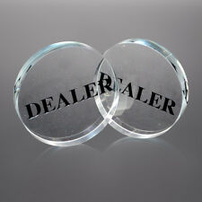 "Transparent 58 x 10 mm Round Poker Button with Black Color Incription ""Dealer"""