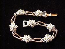 Vintage Forget Me Not Flower Bracelet Signed ART Enamel
