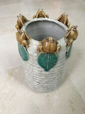 Tall Cylinder Crackled Look Beige Porcelain Vase With Six Frogs Mounted on Rim