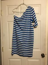 Lauren By Ralph Lauren Blue/White Stripe Dress Women's Size Large L NWT