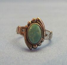 Antique Southwestern Ring Size 5 Turquoise Bell Trading Post Sterling Silver