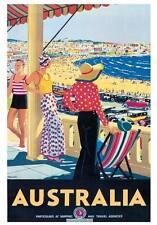 "Vintage Travel Australia Poster A4 CANVAS PRINT Bondi Beach 12"" X 8"""