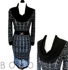 JULIAN MACDONALD STAR BLACK & SILVER LACY-KNIT DRESS COWL NECK BODYCON 8 NWOT
