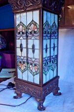 """Large 24"""" Tiffany Style Stained Glass Floor Table Lamp Piller Tower Plant Stand"""