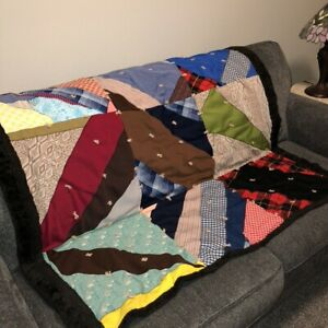 "Vintage 60s Handmade Crazy Quilt Patchwork Throw 52""x48"" Knit Hand Tied Boho VGC"