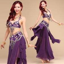 Professional Belly Dance Costume Beaded sets 2pcs set Bra Top+ Belt SML 32A- 38C