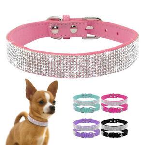 Clear Rhinestone Dog Collars Diamante Gem Studded for Chihuahua Yorkshire Pug XS