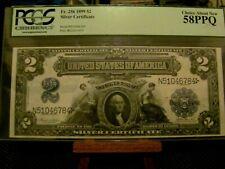 1899 $2 SILVER CERTIFICATE FR256 PCGS 58PPQ CH AU