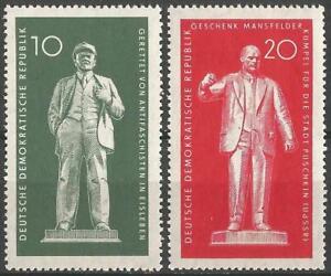 Germany (East) 1960 MNH - Lenin Statue Eisleben, Thaelmann Statue Pushkin USSR